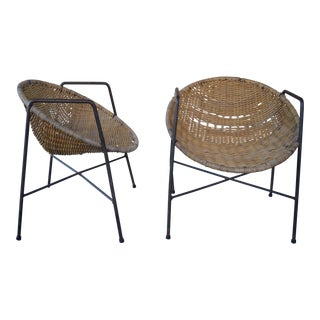 Child Size Wicker & Iron Chairs - A Pair For Sale