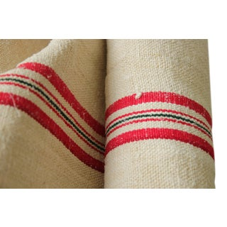 Grain Sack Fabric Antique Homespun Linen Yardage Red And Back Striped Hemp For Upholstery Project Pillow Making Table Runner Sewing For Sale