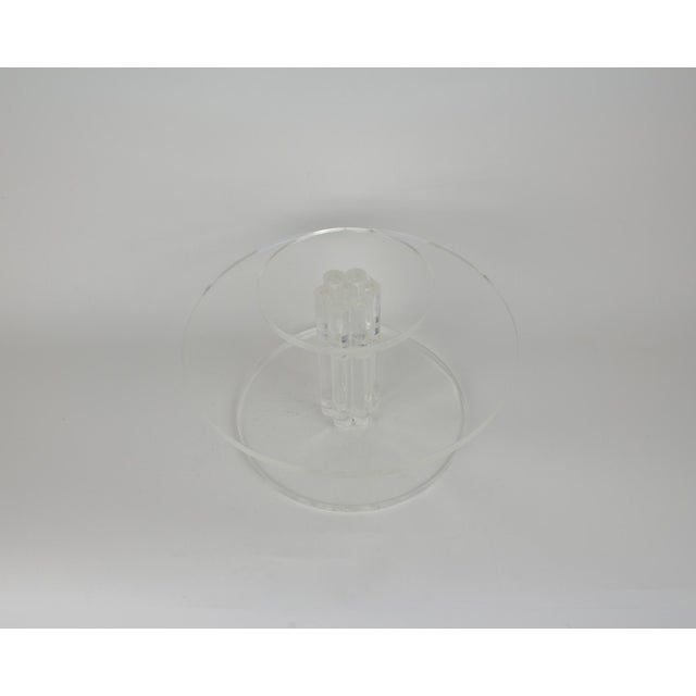 Art Deco Mid-Century Lucite Rotating Cake Stand For Sale - Image 3 of 6