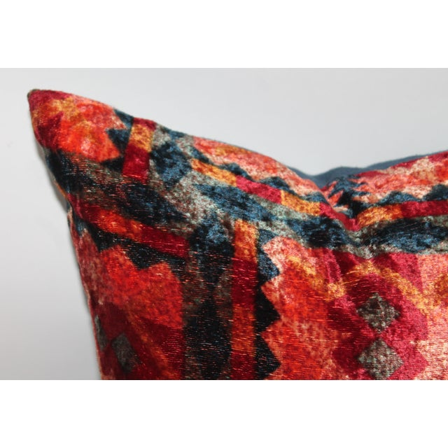 Rustic Patterned Velvet Pillow For Sale - Image 3 of 5