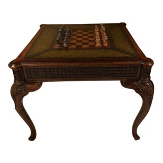 1998 English Traditional Leather Top Game Table For Sale