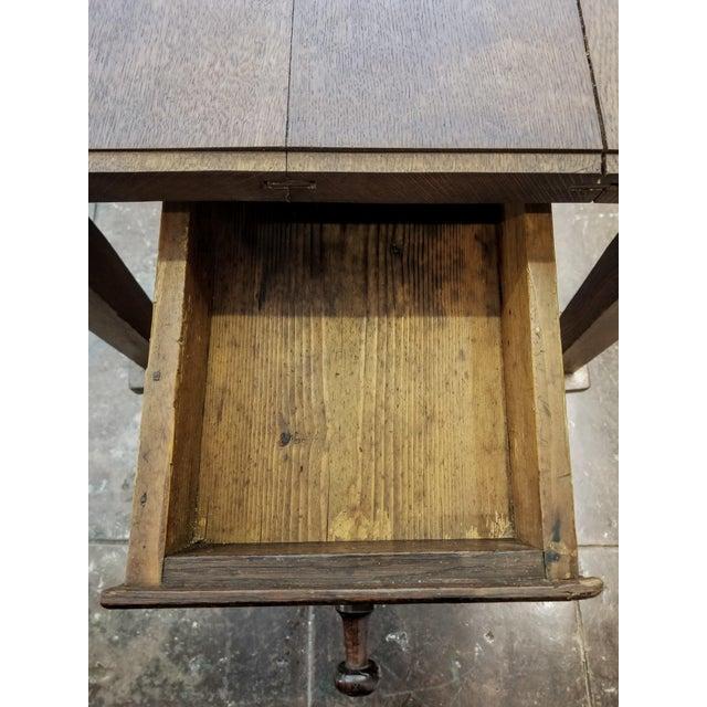 Antique ( 1680-1749 ) Flemish Renaissance Oak Possum Belly Drawer Kitchen Work Table For Sale - Image 9 of 12