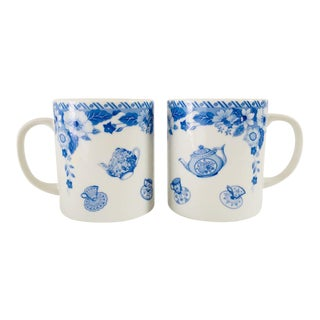 Vintage Blue & White Porcelain Mugs - A Pair