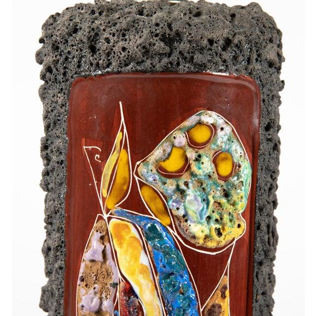 Brutalist Italian Ash Glaze Art Pottery Table Lamp For Sale - Image 3 of 3