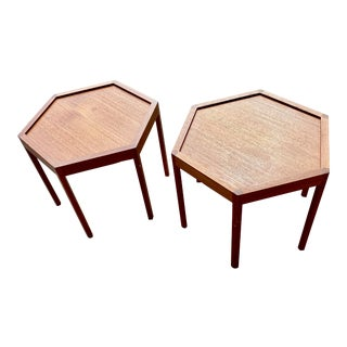 1960s Mid-Century Modern Hans Andersen Hexagonal Side Tables - a Pair For Sale
