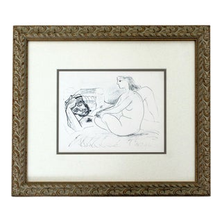 1950s Mid Century Modern Framed Signed Pablo Picasso Artist & Muse Lithograph For Sale