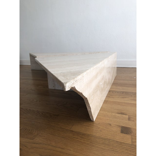 Vintage Travertine Stone Triangle Coffee Table - 2 Pieces For Sale In Los Angeles - Image 6 of 13