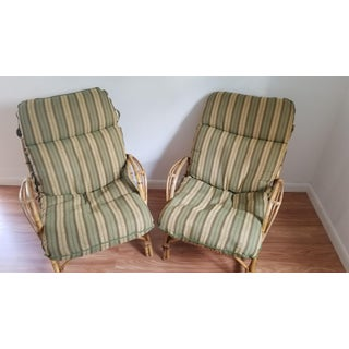 Vintage Rattan Lounge Chairs & Ottoman - 3 Pieces Preview