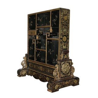 Antique Chinese Duobaoge-Style Black Lacquer and Gilt Curio Display Case For Sale