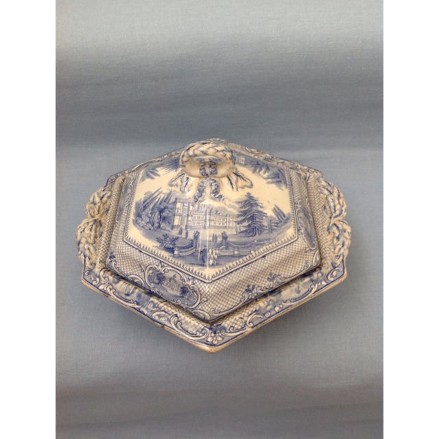 Antique Blue and White Transferware Dish With Lid For Sale - Image 13 of 13