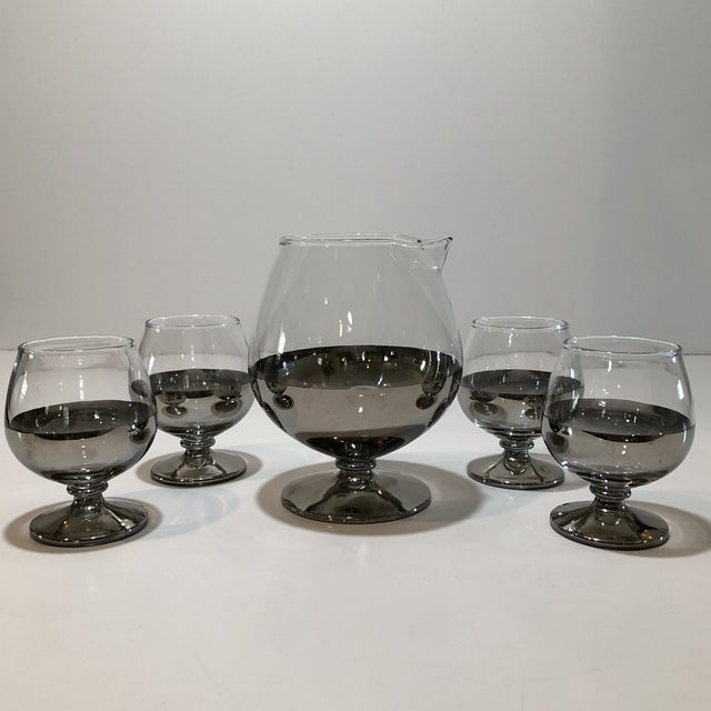 """Stunning mid century platinum ombré Decanter and snifter glass set. Each snifter glass is 3.75"""" tall and has a diameter of..."""