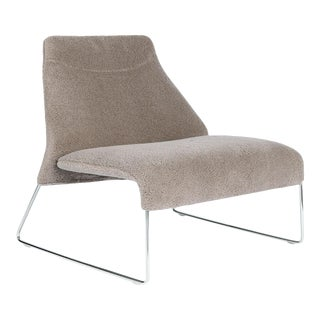 """Gray Wool """"Shearling"""" Covered Easy Chair With Chrome Frame B&b Italia For Sale"""