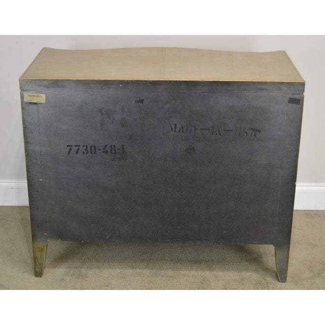 Hollywood Regency Henredon Hollywood Regency Style Serpentine Silver Leather 2 Drawer Chest For Sale - Image 3 of 13