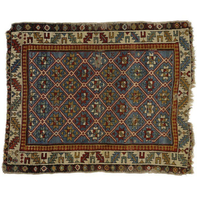 19th Century Russian Caucasian Shirvan Rug - 3′4″ × 4′ For Sale - Image 4 of 6