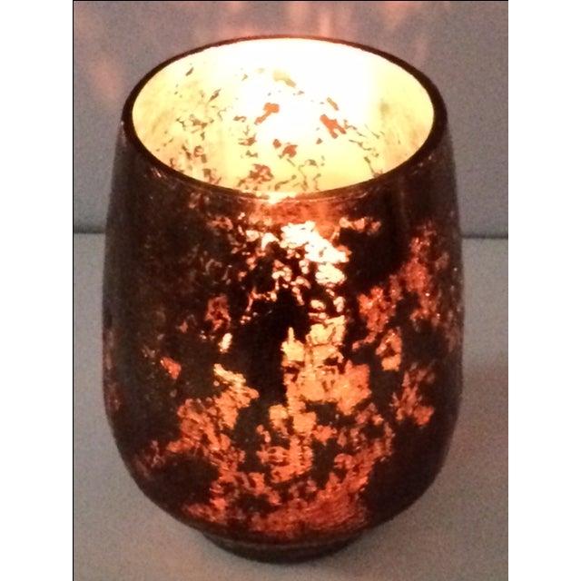 Modern Mercury Gold Glass Hurricane Candle Holder - Image 4 of 6