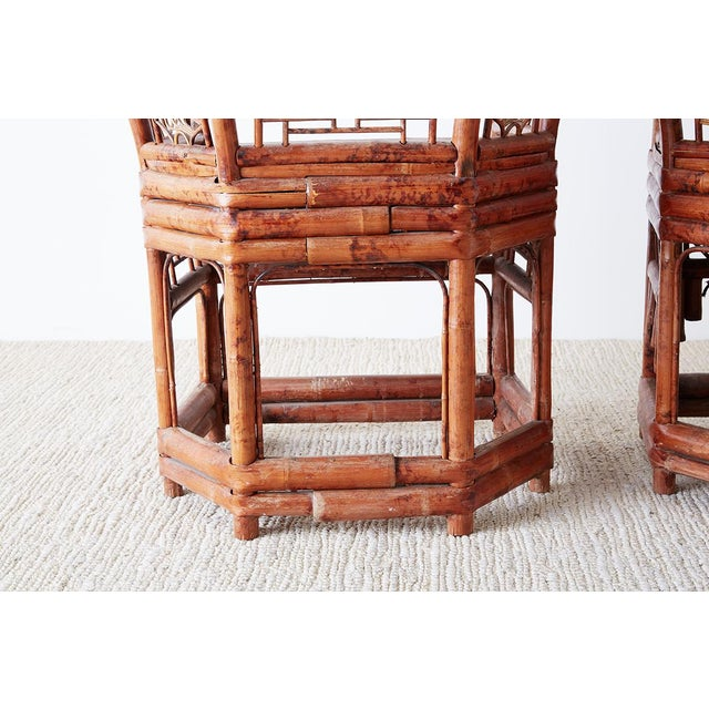 Brown Set of Four Brighton Pavillion Style Bamboo Armchairs For Sale - Image 8 of 13