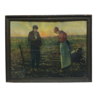 """Early 20th Century Antique """"Praying in the Field"""" The Angelus Framed Print For Sale"""