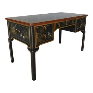 Sligh Chiniosere Paint Decorated Black Lacquer Tooled Leather Top Writing Desk For Sale