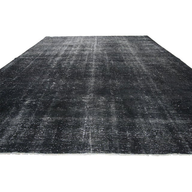 Rustic Vintage Turkish Dark Charcoal Rug With Industrial Style - 09'04 X 12'02 For Sale - Image 3 of 7