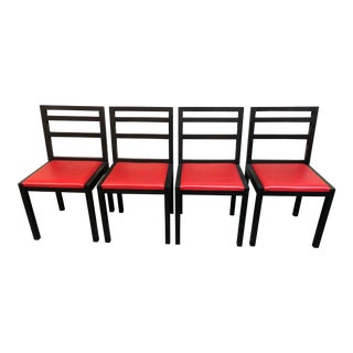 Asian Modern Black and Red Dining Chairs - Set of 4 For Sale