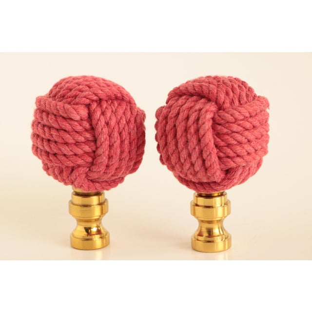 Not Yet Made - Made To Order Nautical Knot Lamp Finials in Raspberry Red For Sale - Image 5 of 5