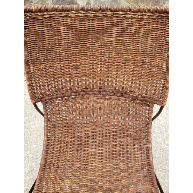 Metal Mid Century Frederic Weinberg Wrought Iron & Rattan Lounge Chair For Sale - Image 7 of 13