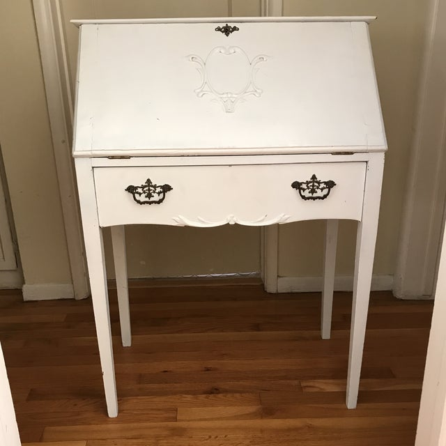 Distressed White Secretary Desk - Image 9 of 10