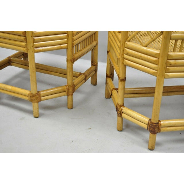 Yellow Vintage Brighton Pavilion Style Bamboo & Cane Rattan Arm Chairs - A Pair For Sale - Image 8 of 12
