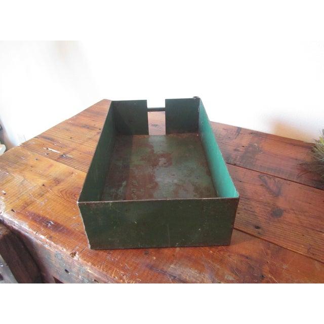 Vintage Industrial Green Painted Steel Drawer Bin Firewood Holder - Image 3 of 8