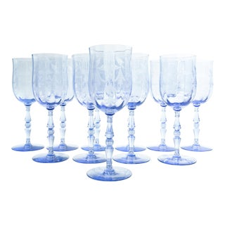 Vintage Etched Crystal Wine / Water Glassware Set For Sale