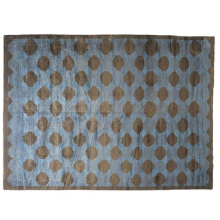 Polka Dotted Blue Rug -- 10′ × 13′11″ For Sale