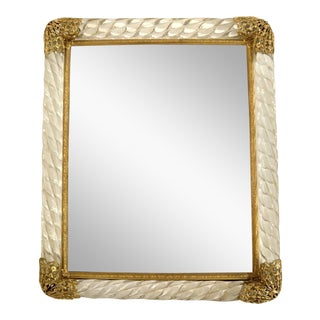 Vintage Twisted Glass Edged Picture Frame With Filigreed Brass Corner Caps For Sale