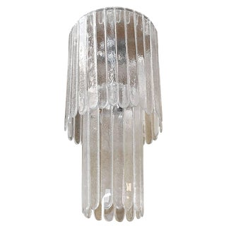 Italian Clear Murano Glass Chandelier by Leucos