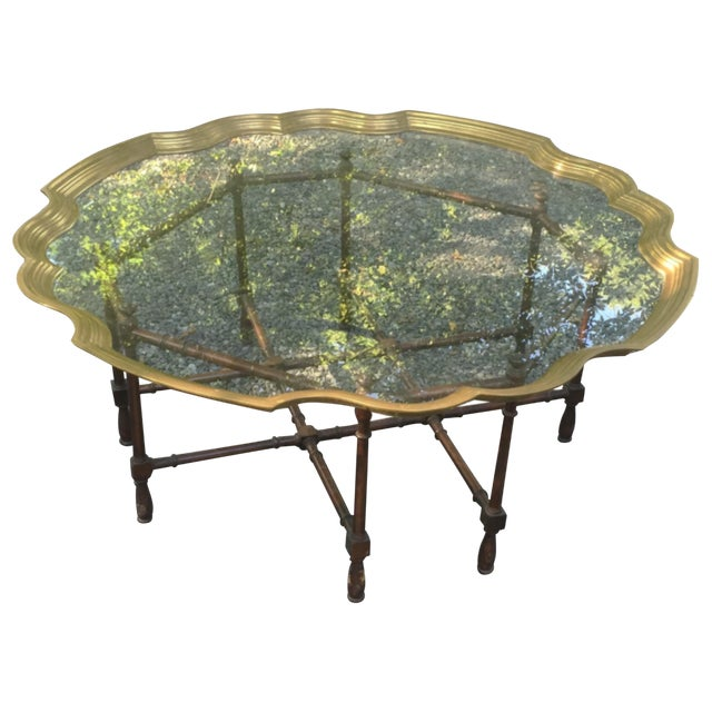 Faux Bamboo Brass Tray Table by McGuire - Image 1 of 10