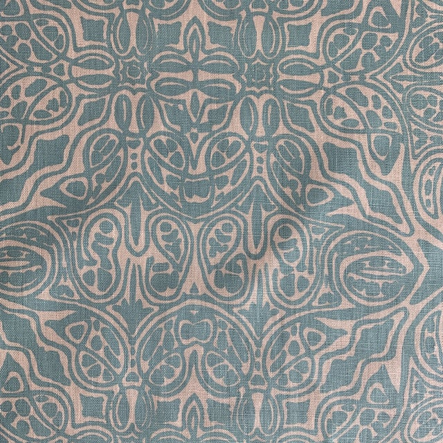 Anglo-Indian Quadrille Turquoise Linen Fabric For Sale - Image 3 of 5
