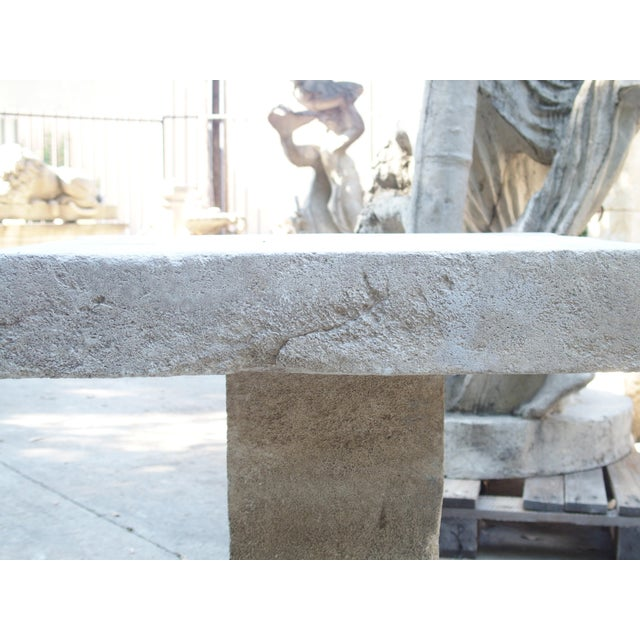 Traditional Carved Square Top French Limestone Bistro Table For Sale - Image 3 of 12