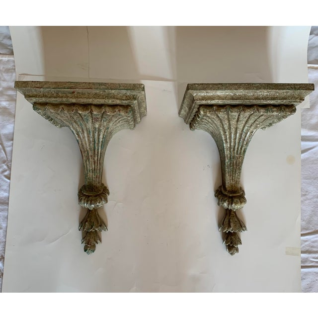 1950s Vintage Italian Carved and Painted Wood Corbel Brackets - a Pair For Sale - Image 11 of 12