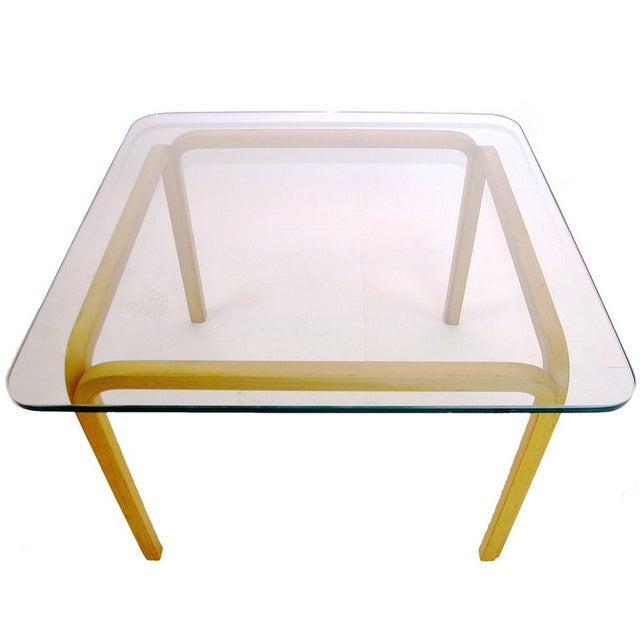 Contemporary Alvar Aalto Artek Glass & Bentwood Birch Coffee or Cocktail Tables - a Pair For Sale - Image 3 of 9