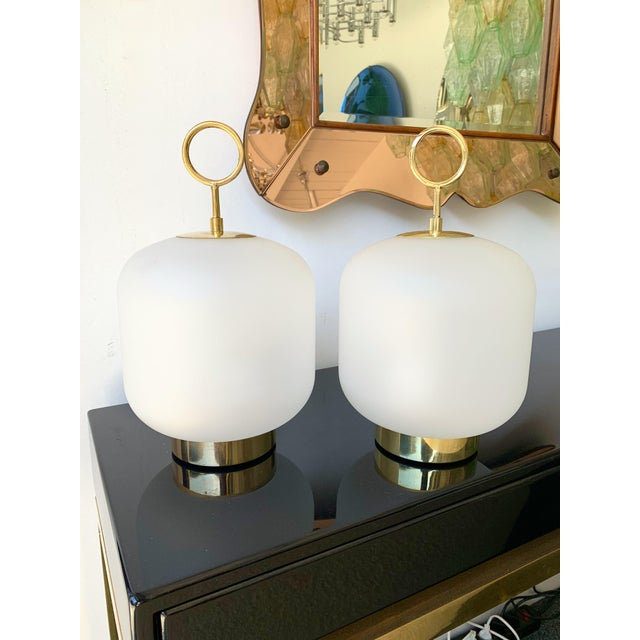 Contemporary Murano Glass Brass Ring Medium Can Lamps - a Pair For Sale - Image 6 of 13