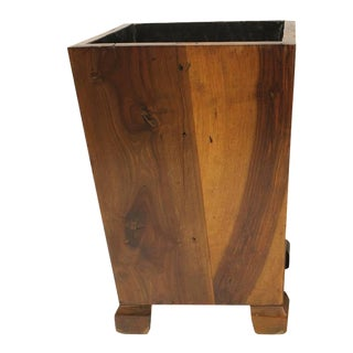 Late 20th C. Vintage George Nakashima Style Wood Waste Basket For Sale