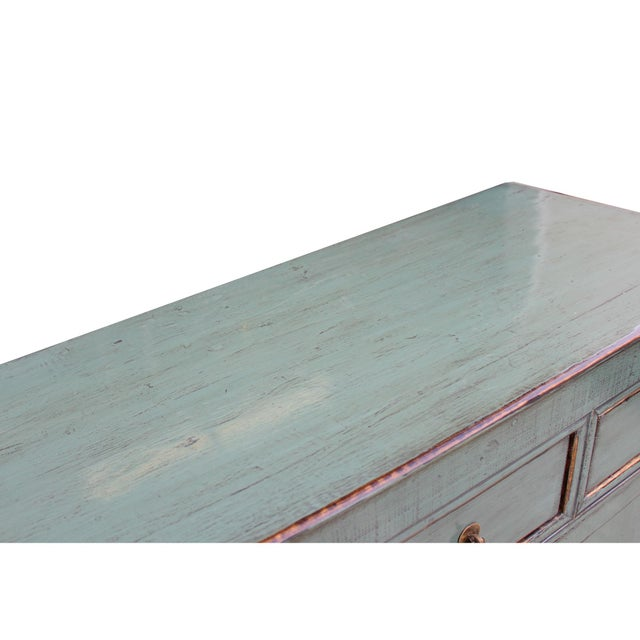 Distressed Rustic Teal Gray Credenza Sideboard Buffet Table Cabinet For Sale In San Francisco - Image 6 of 9