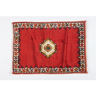 Berber Rug - Diamond on Deep Red Background Handwoven Preview