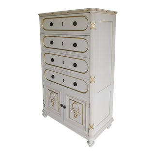Vintage Hollywood Regency Gilt Gold Accented Original Paint Decorated Chest For Sale