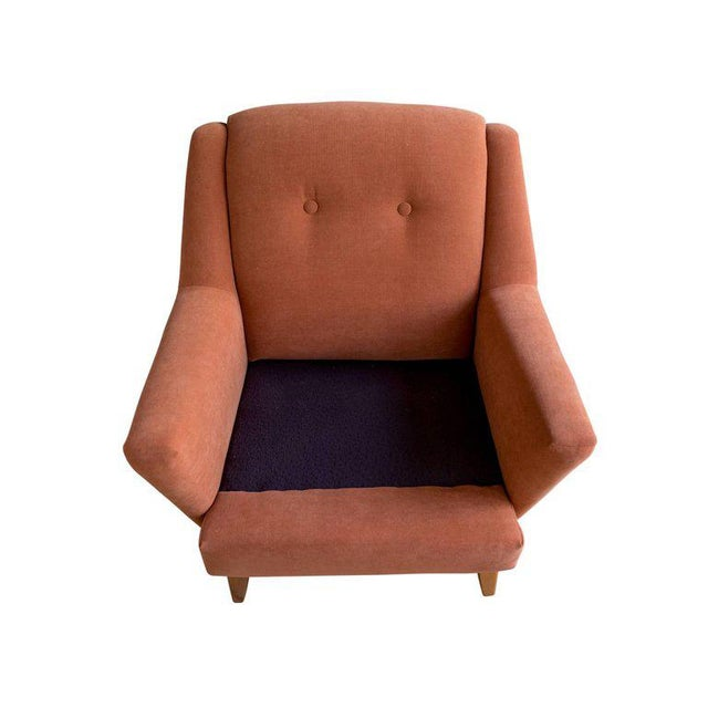 Heywood-Wakefield 1950s Burnt Orange Upholstered Lounge Chair by Heywood Wakefield For Sale - Image 4 of 8