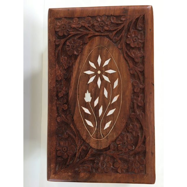Rustic 1960s Vintage Hand Carved Wooden Box For Sale - Image 3 of 12