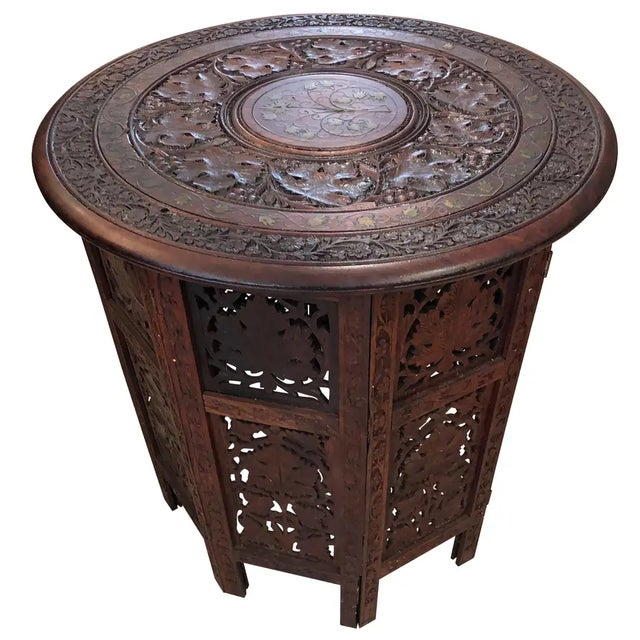 Brown Sized Round Moorish Anglo-Indian End Table For Sale - Image 8 of 8