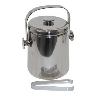 Stainless Steel Ice Bucket With Tongs by Wmf Japan For Sale