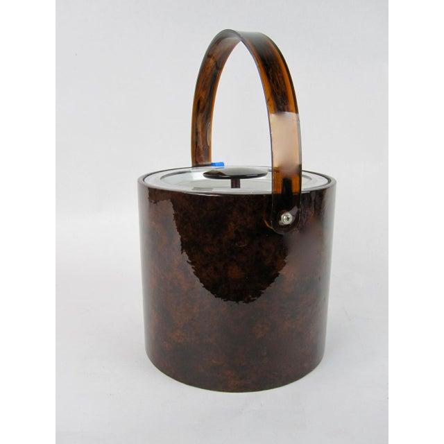 Vinyl Vintage Georges Briard Tortoise Finish Ice Bucket For Sale - Image 7 of 9