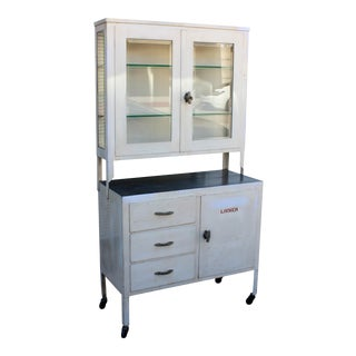 1930s Industrial White Steel and Glass Medical Display Cabinet