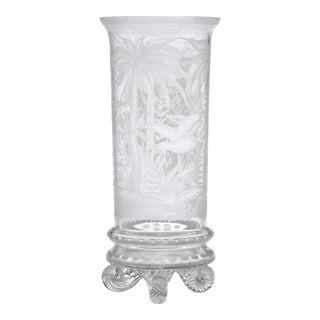 Chinoiserie Engraved Glass Vase by Stevens & Williams For Sale